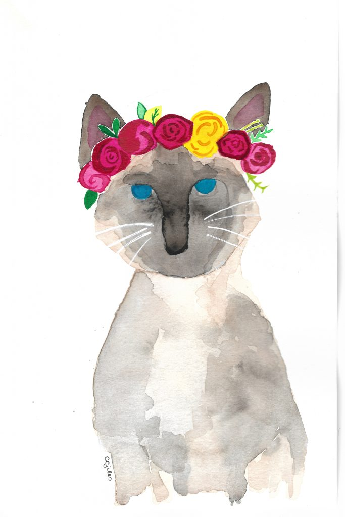 Watercolor: A cat wearing a flower crown.